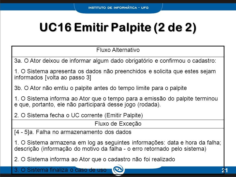 UC16 Emitir Palpite (2 de 2) Fluxo Alternativo