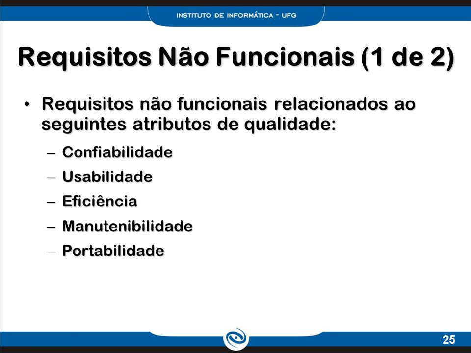 Requisitos Não Funcionais (1 de 2)