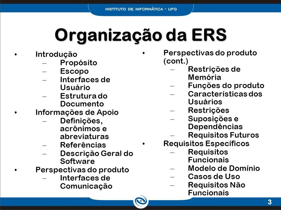 Organização da ERS Perspectivas do produto (cont.) Introdução