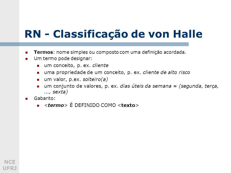 RN - Classificação de von Halle
