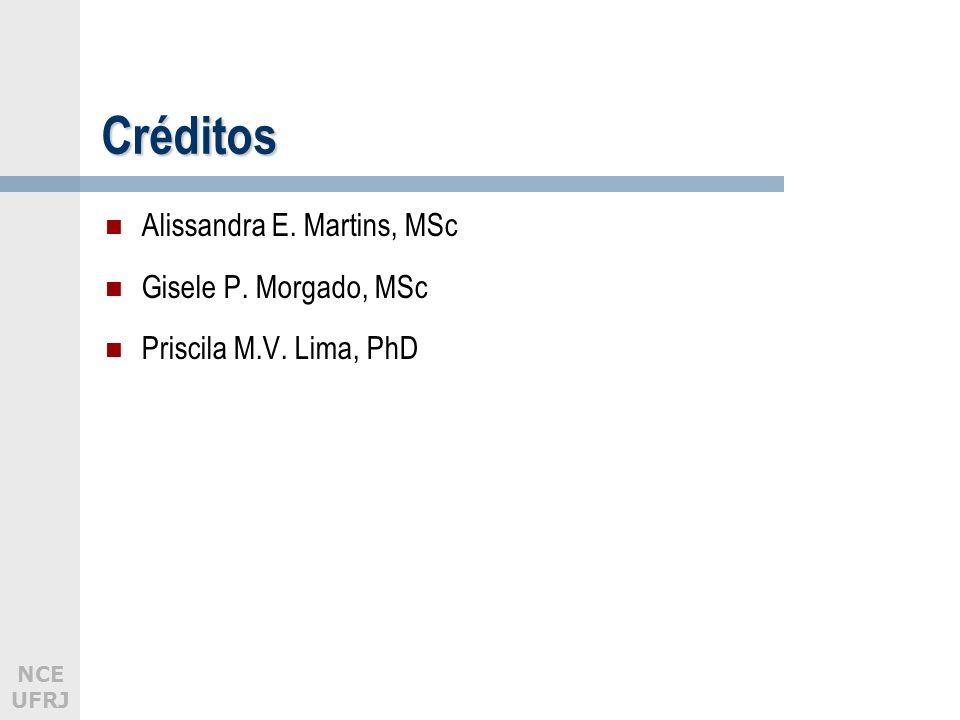 Créditos Alissandra E. Martins, MSc Gisele P. Morgado, MSc