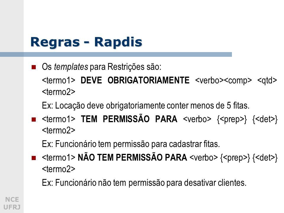 Regras - Rapdis Os templates para Restrições são: