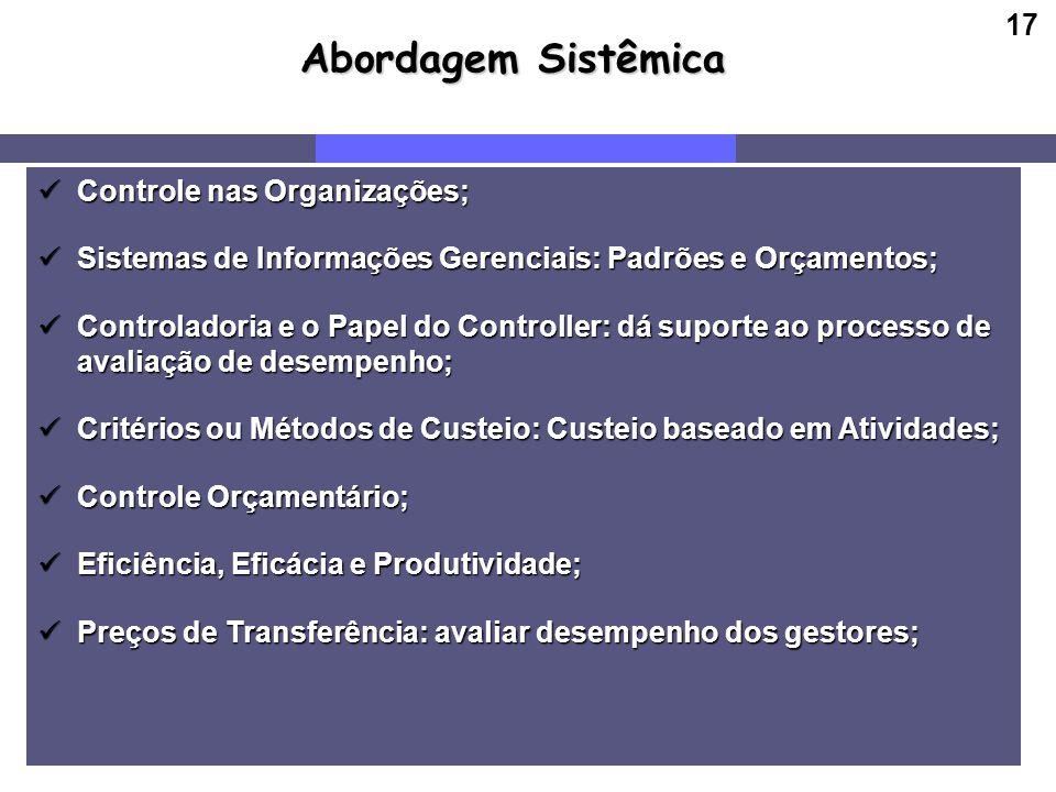 Abordagem Sistêmica Controle nas Organizações;