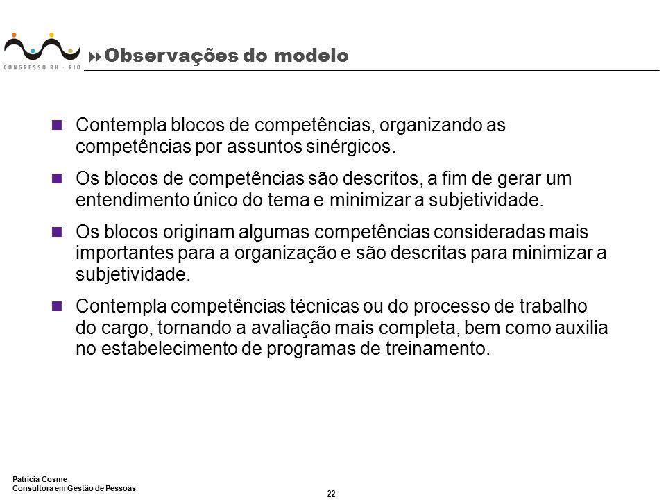 Observações do modelo Contempla blocos de competências, organizando as competências por assuntos sinérgicos.