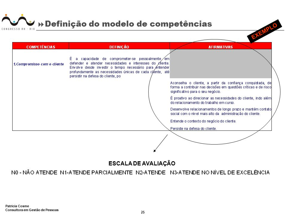 Definição do modelo de competências