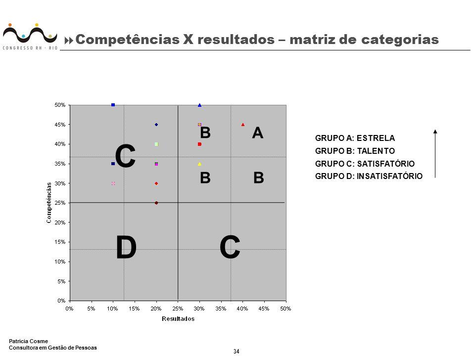 Competências X resultados – matriz de categorias