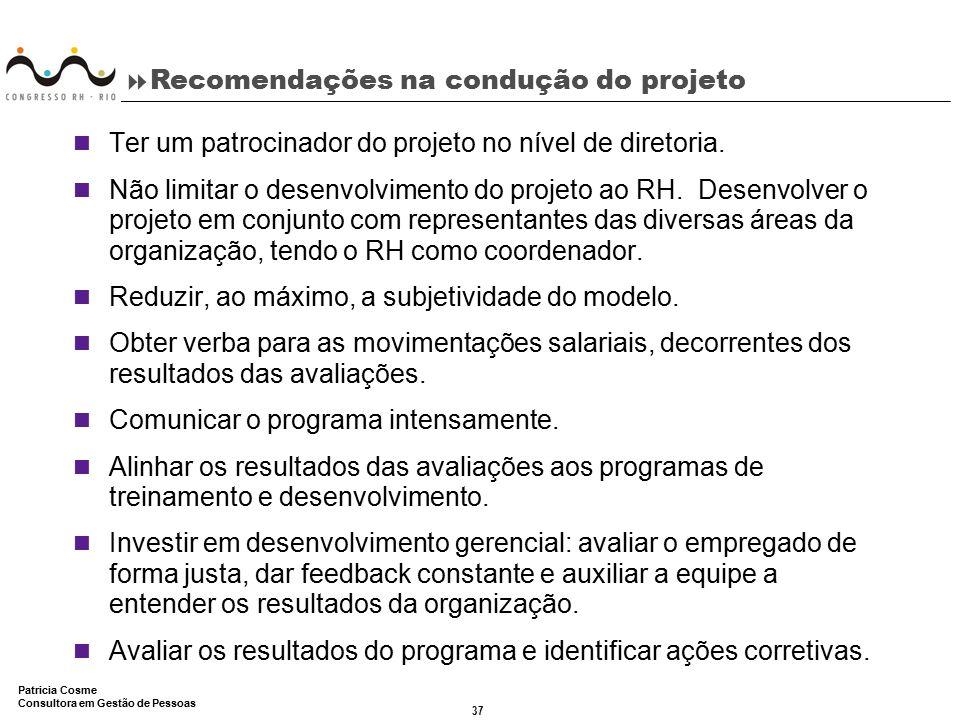 Recomendações na condução do projeto
