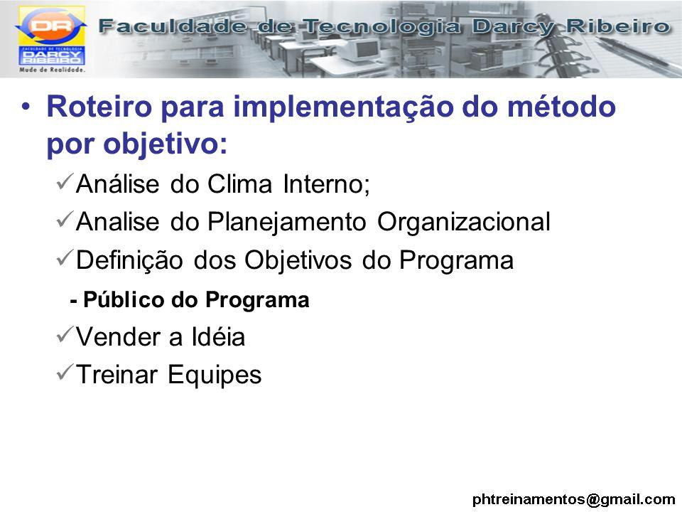 Roteiro para implementação do método por objetivo: