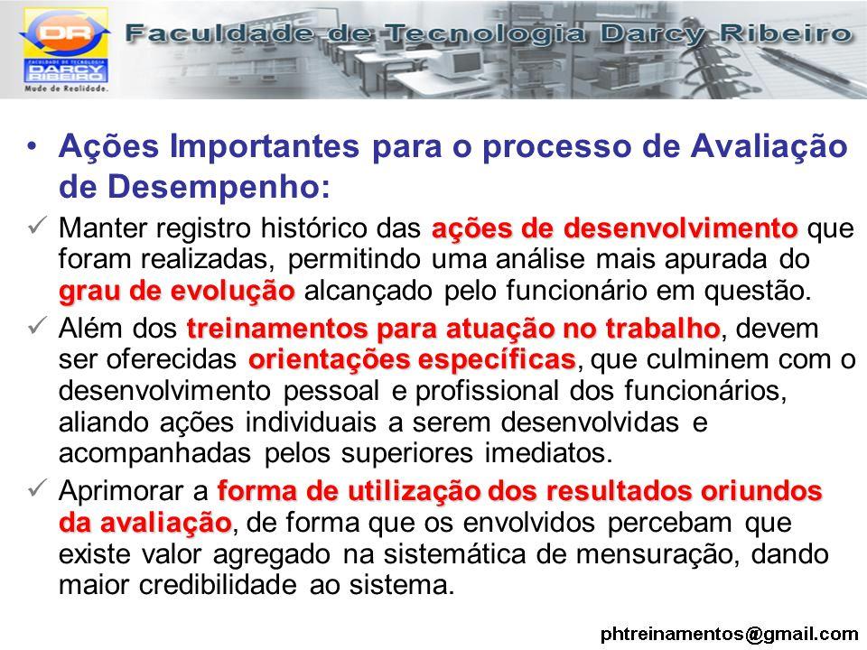 Ações Importantes para o processo de Avaliação de Desempenho:
