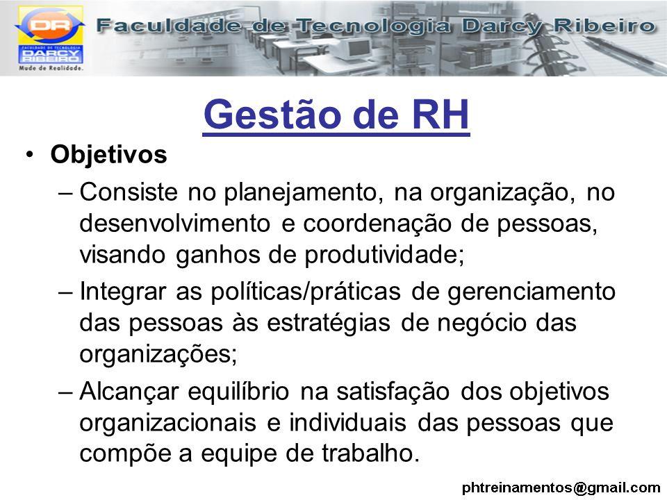Gestão de RH Objetivos. Consiste no planejamento, na organização, no desenvolvimento e coordenação de pessoas, visando ganhos de produtividade;