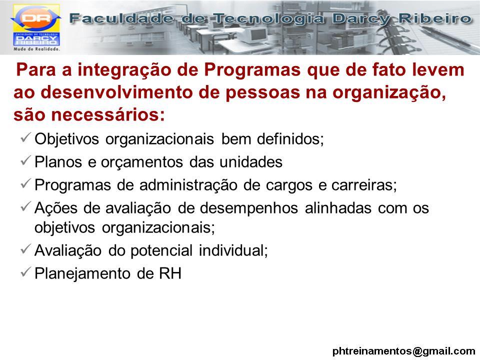 Para a integração de Programas que de fato levem ao desenvolvimento de pessoas na organização, são necessários: