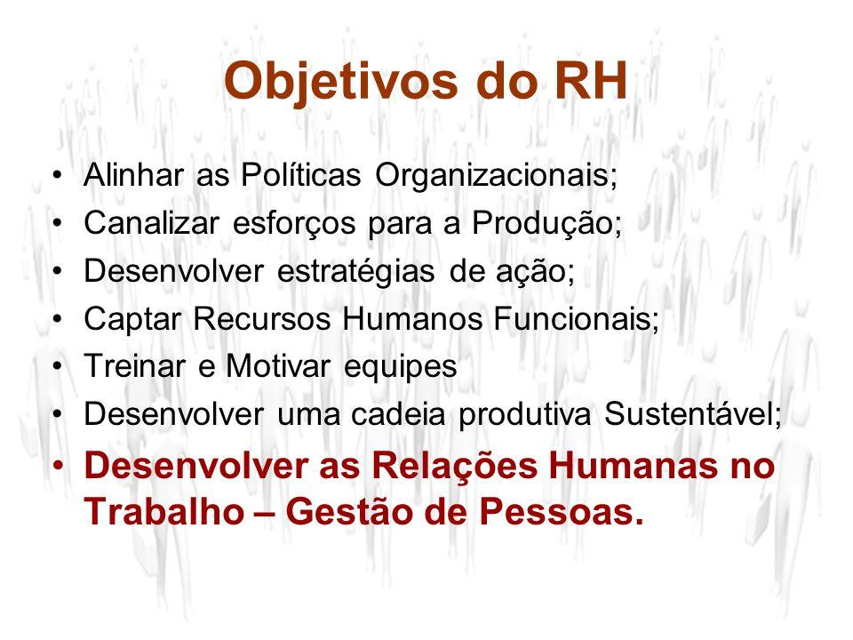 Objetivos do RH Alinhar as Políticas Organizacionais; Canalizar esforços para a Produção; Desenvolver estratégias de ação;