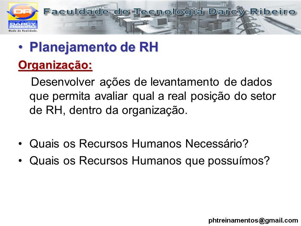 Planejamento de RH Organização: