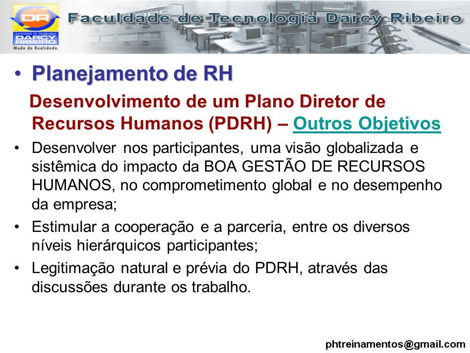 Planejamento de RH Desenvolvimento de um Plano Diretor de Recursos Humanos (PDRH) – Outros Objetivos.
