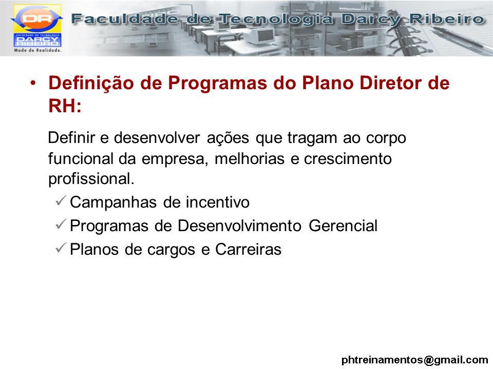 Definição de Programas do Plano Diretor de RH: