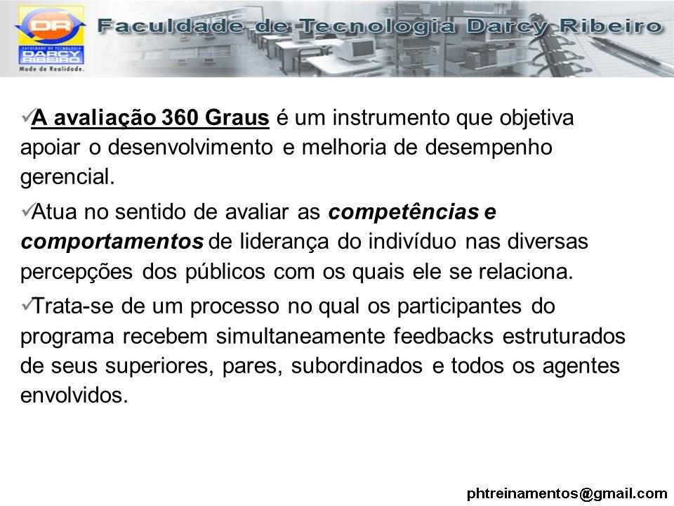 A avaliação 360 Graus é um instrumento que objetiva apoiar o desenvolvimento e melhoria de desempenho gerencial.