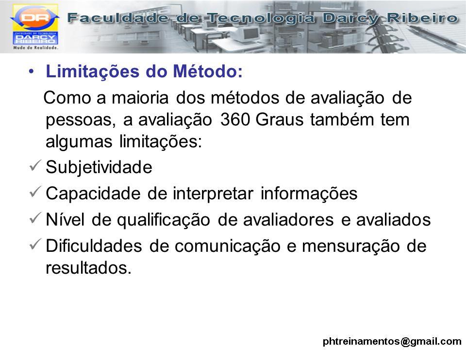 Limitações do Método: Como a maioria dos métodos de avaliação de pessoas, a avaliação 360 Graus também tem algumas limitações: