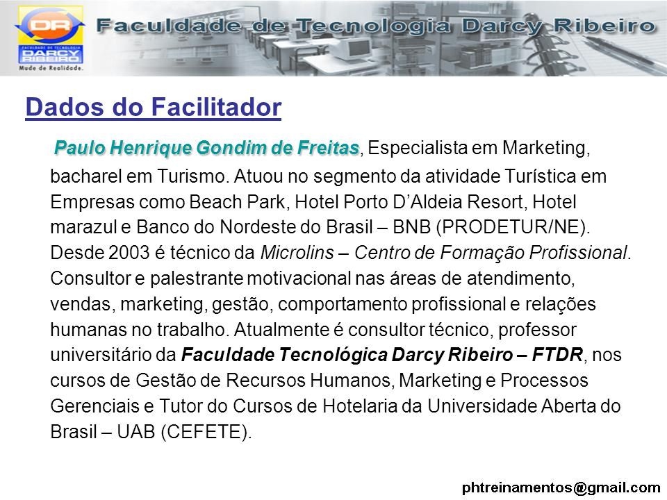Dados do Facilitador