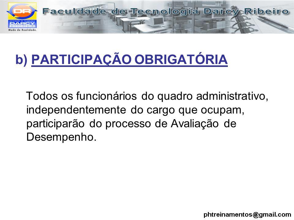b) PARTICIPAÇÃO OBRIGATÓRIA