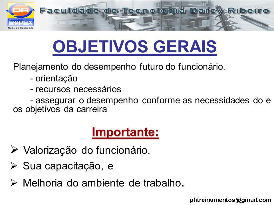 OBJETIVOS GERAIS Planejamento do desempenho futuro do funcionário.