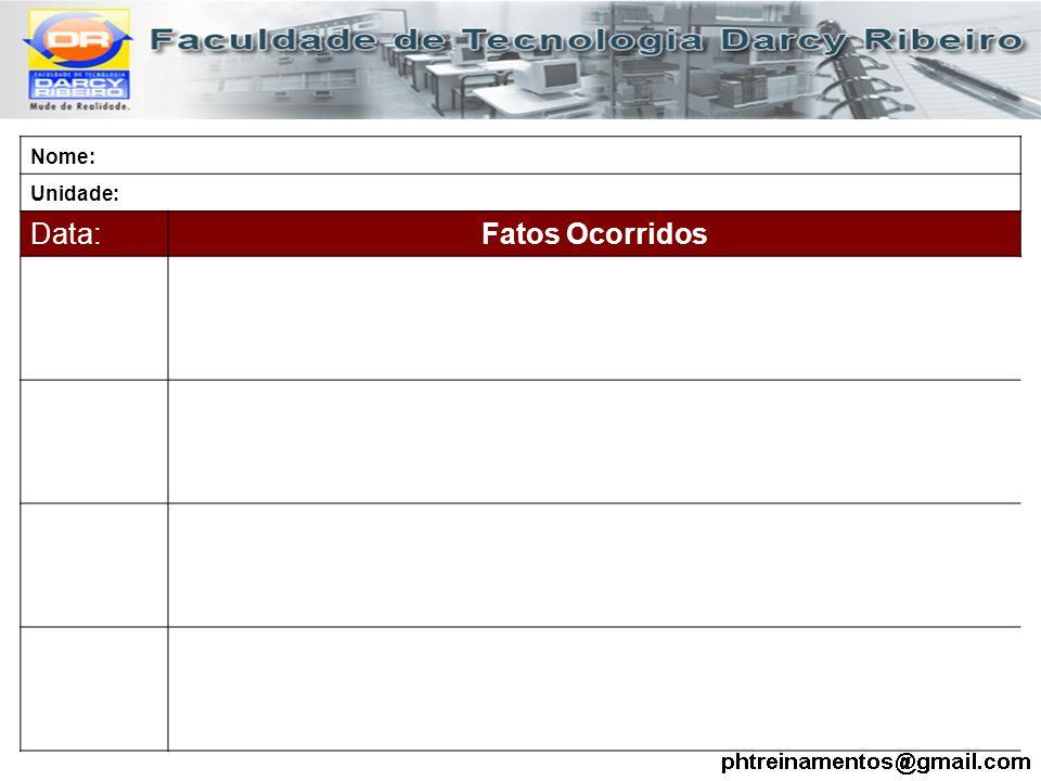 Nome: Unidade: Data: Fatos Ocorridos