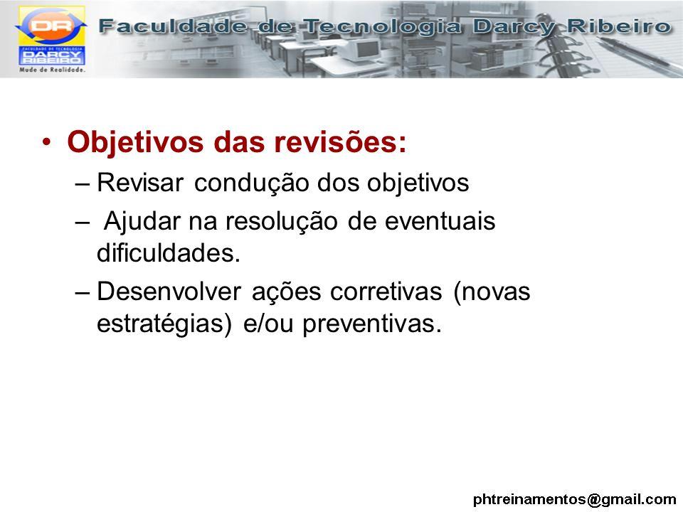 Objetivos das revisões: