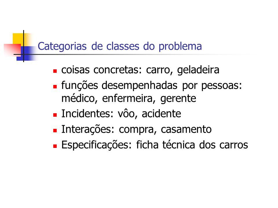 Categorias de classes do problema