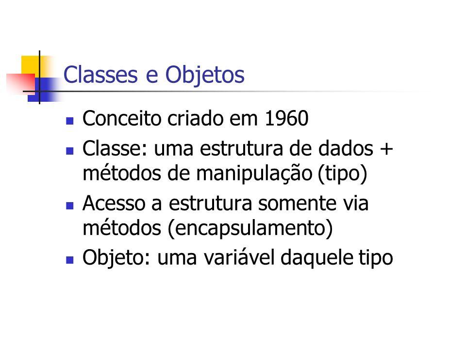 Classes e Objetos Conceito criado em 1960