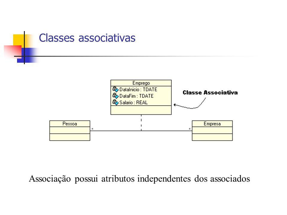 Classes associativas Associação possui atributos independentes dos associados 6