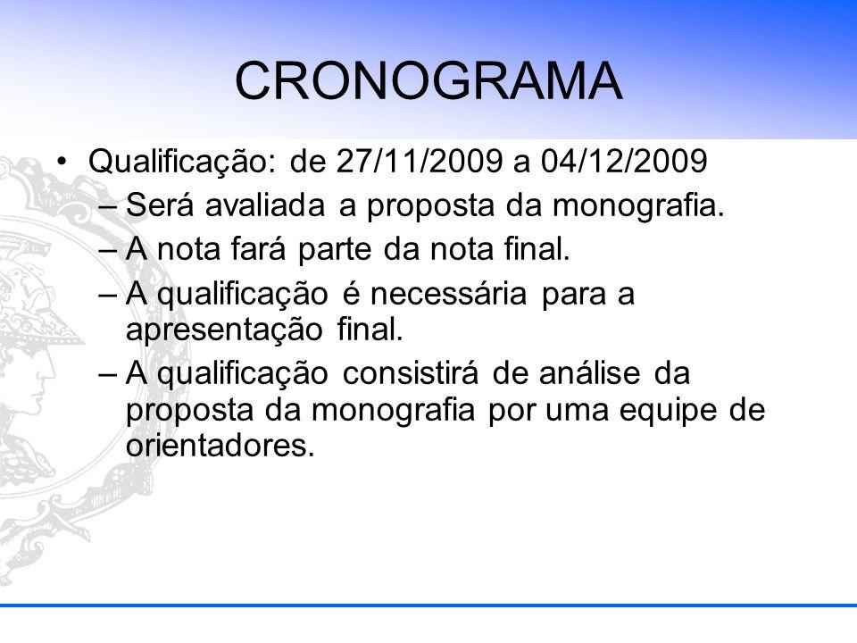 CRONOGRAMA Qualificação: de 27/11/2009 a 04/12/2009