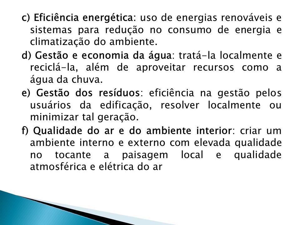 c) Eficiência energética: uso de energias renováveis e sistemas para redução no consumo de energia e climatização do ambiente.