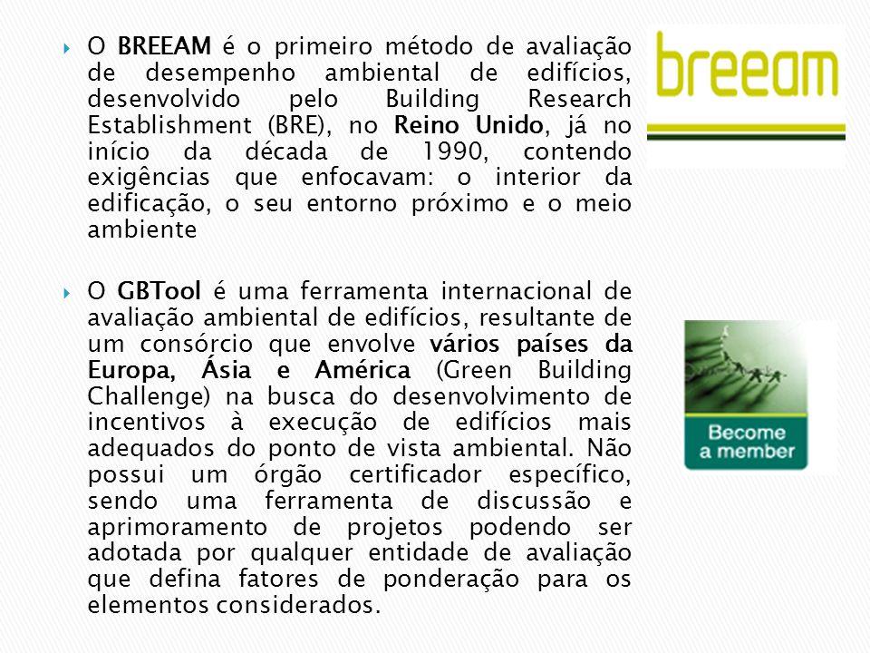O BREEAM é o primeiro método de avaliação de desempenho ambiental de edifícios, desenvolvido pelo Building Research Establishment (BRE), no Reino Unido, já no início da década de 1990, contendo exigências que enfocavam: o interior da edificação, o seu entorno próximo e o meio ambiente