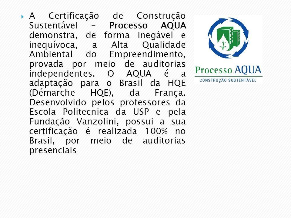A Certificação de Construção Sustentável - Processo AQUA demonstra, de forma inegável e inequívoca, a Alta Qualidade Ambiental do Empreendimento, provada por meio de auditorias independentes.