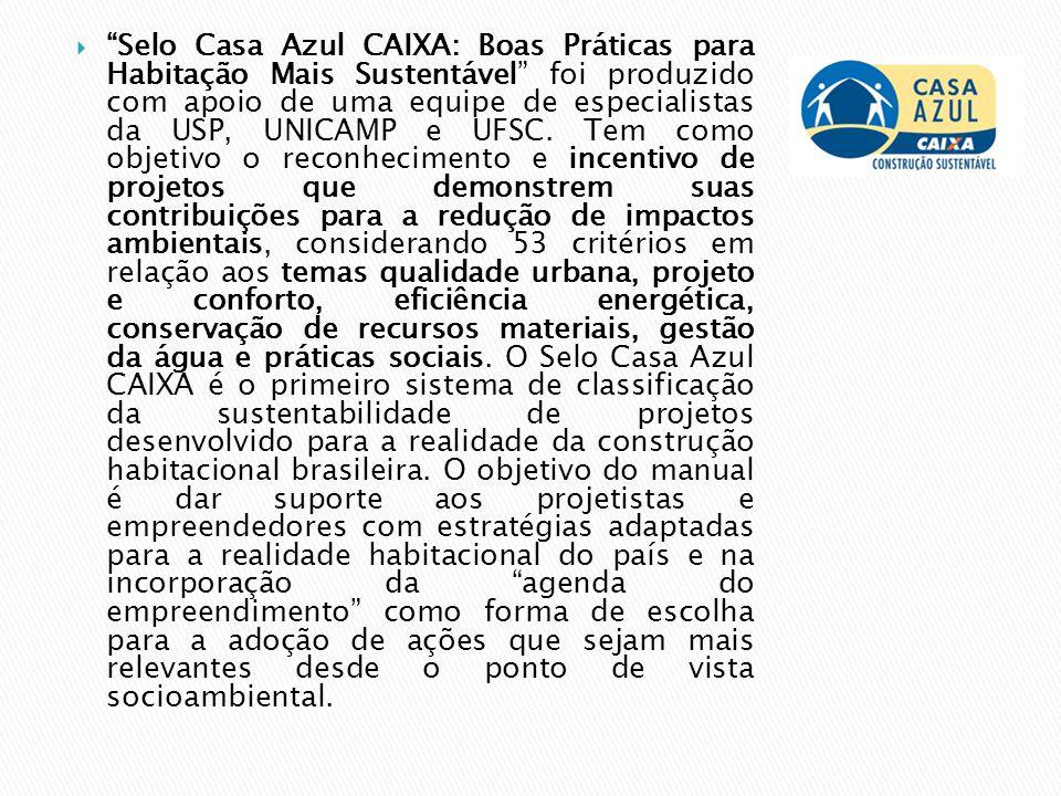Selo Casa Azul CAIXA: Boas Práticas para Habitação Mais Sustentável foi produzido com apoio de uma equipe de especialistas da USP, UNICAMP e UFSC.