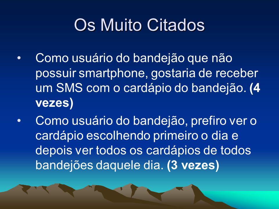 Os Muito Citados Como usuário do bandejão que não possuir smartphone, gostaria de receber um SMS com o cardápio do bandejão. (4 vezes)