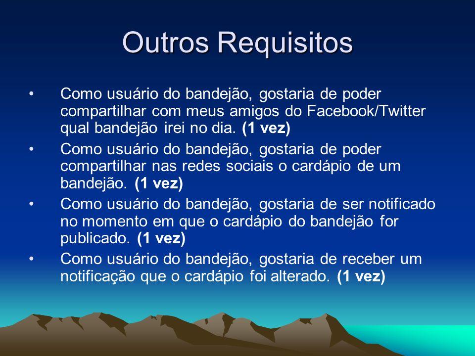 Outros Requisitos Como usuário do bandejão, gostaria de poder compartilhar com meus amigos do Facebook/Twitter qual bandejão irei no dia. (1 vez)