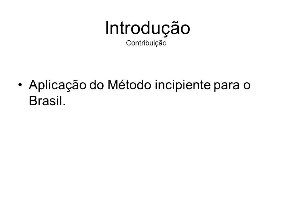 Introdução Contribuição Aplicação do Método incipiente para o Brasil.