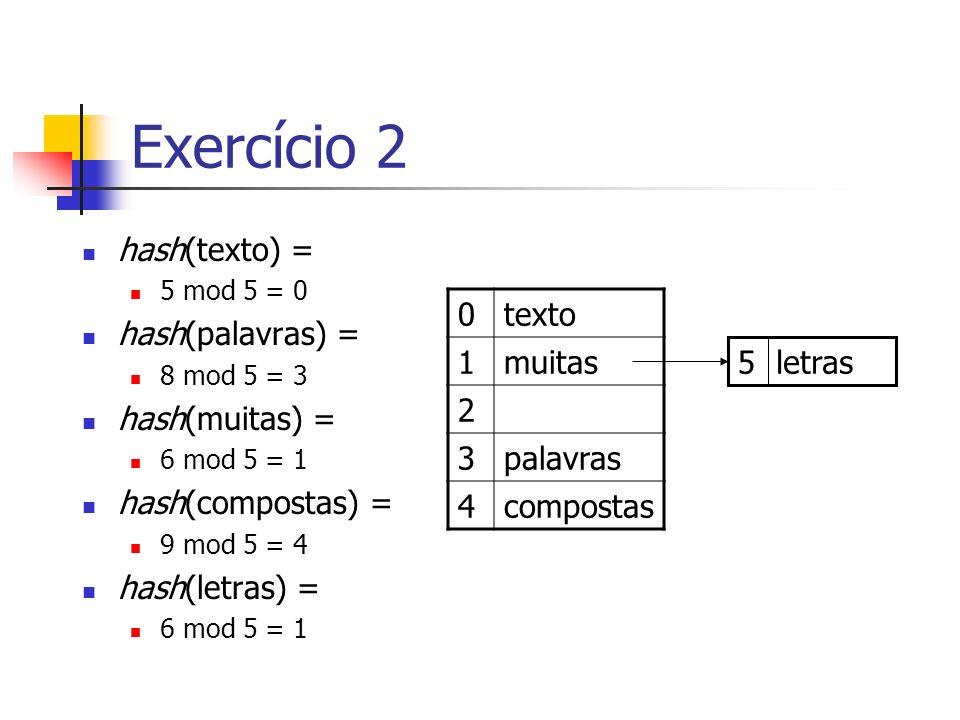 Exercício 2 hash(texto) = hash(palavras) = hash(muitas) =