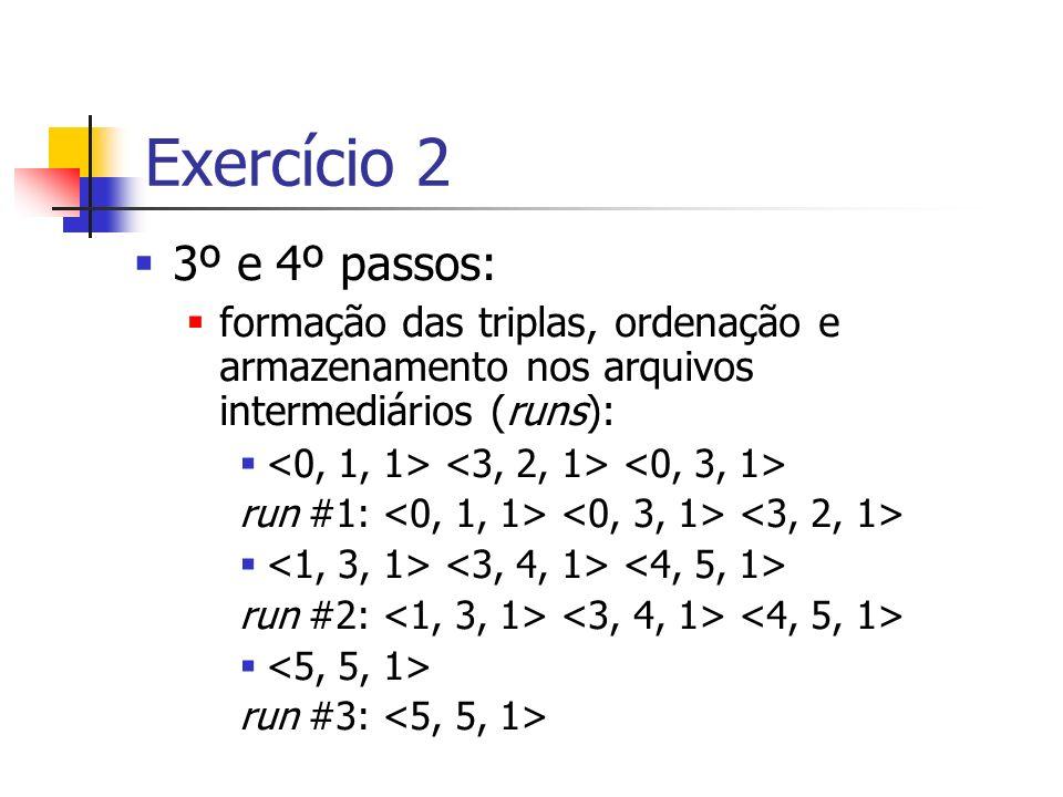 Exercício 2 3º e 4º passos: formação das triplas, ordenação e armazenamento nos arquivos intermediários (runs):