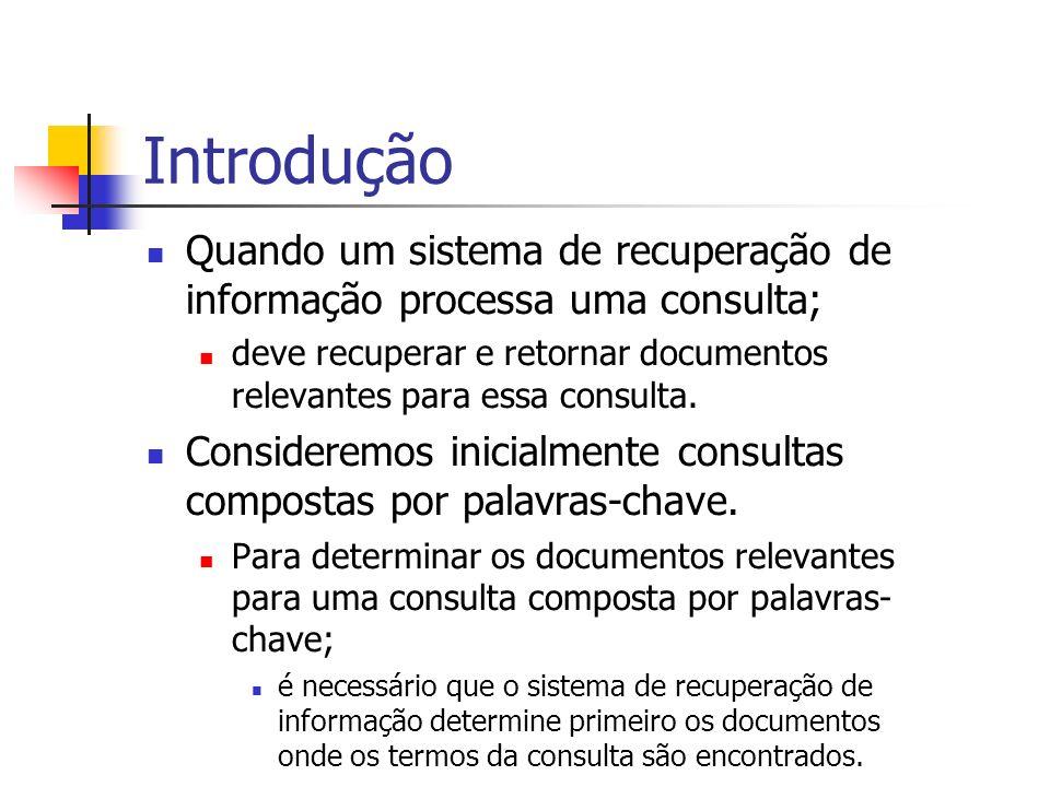 Introdução Quando um sistema de recuperação de informação processa uma consulta;