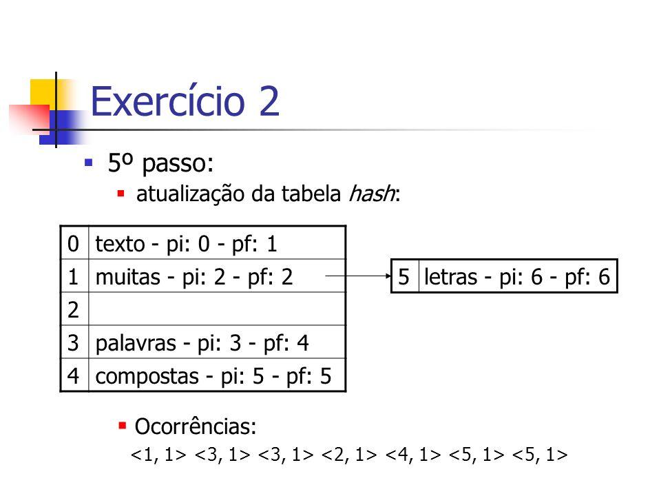 Exercício 2 5º passo: atualização da tabela hash: