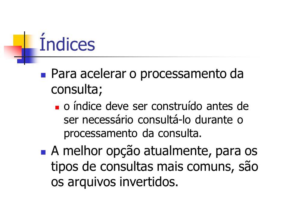 Índices Para acelerar o processamento da consulta;