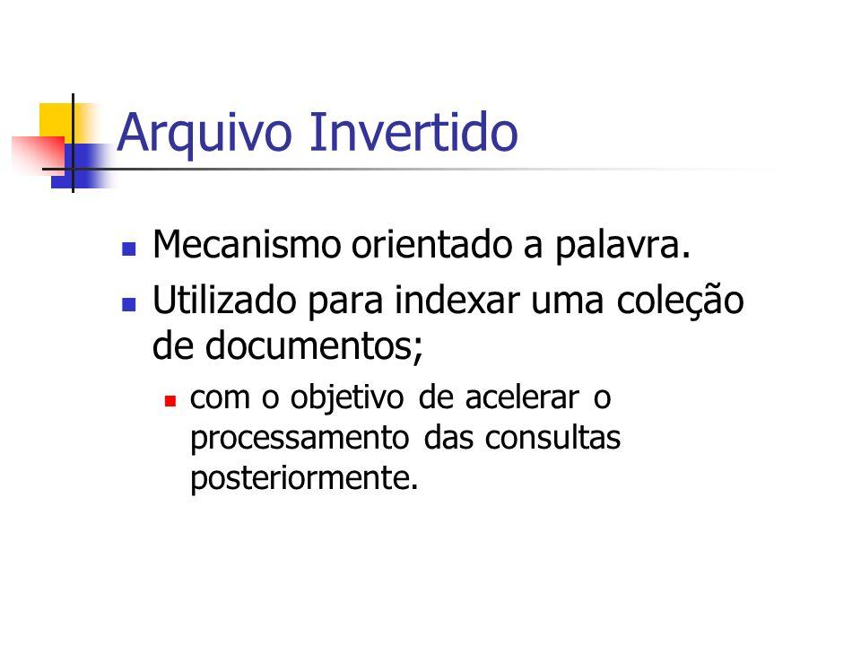 Arquivo Invertido Mecanismo orientado a palavra.