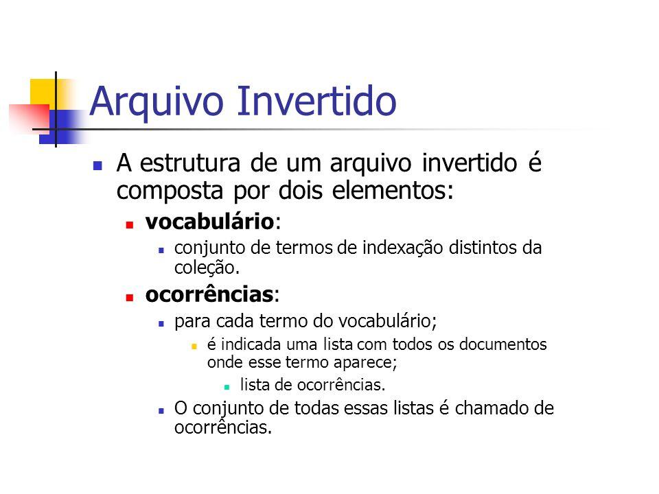 Arquivo Invertido A estrutura de um arquivo invertido é composta por dois elementos: vocabulário: