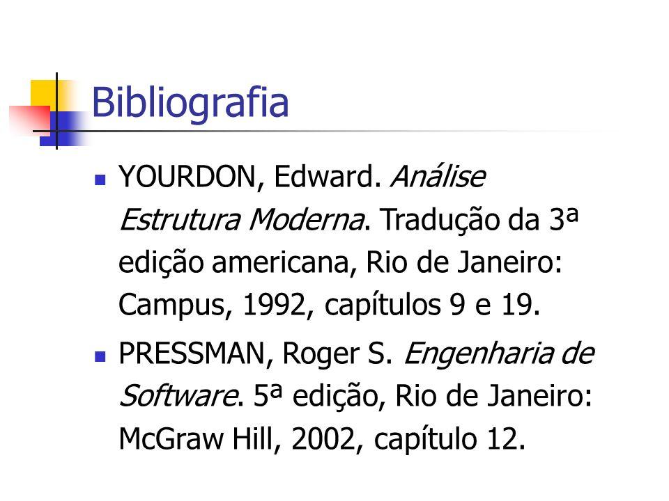 Bibliografia YOURDON, Edward. Análise Estrutura Moderna. Tradução da 3ª edição americana, Rio de Janeiro: Campus, 1992, capítulos 9 e 19.