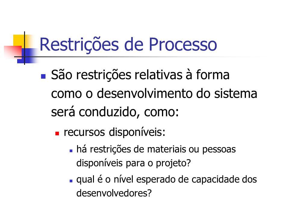 Restrições de Processo