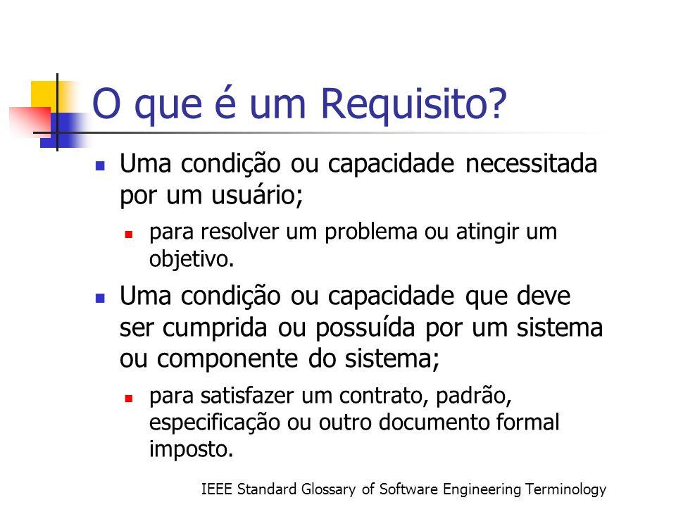 O que é um Requisito Uma condição ou capacidade necessitada por um usuário; para resolver um problema ou atingir um objetivo.