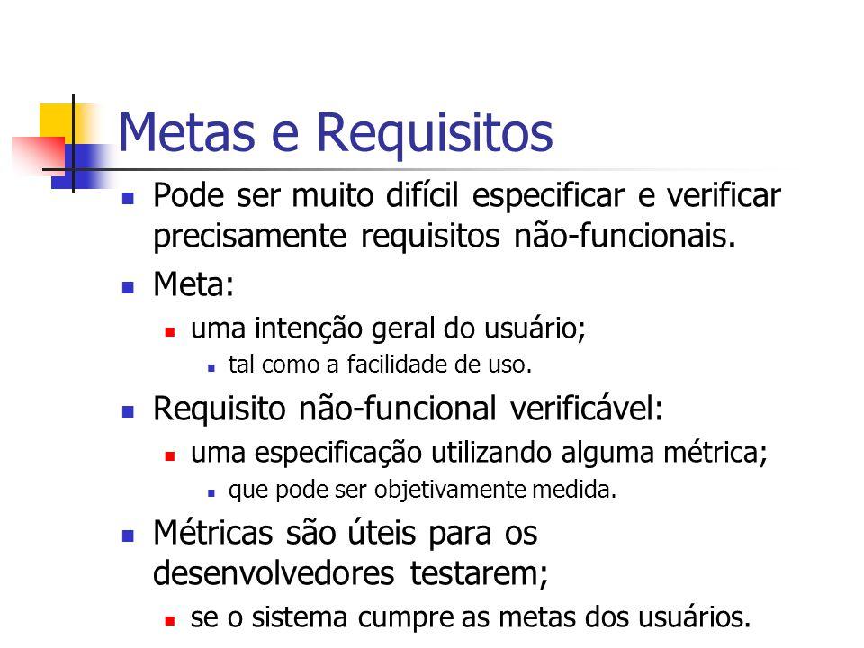 Metas e Requisitos Pode ser muito difícil especificar e verificar precisamente requisitos não-funcionais.