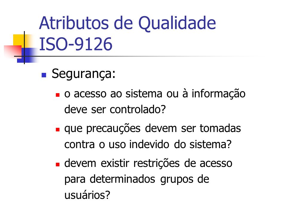 Atributos de Qualidade ISO-9126