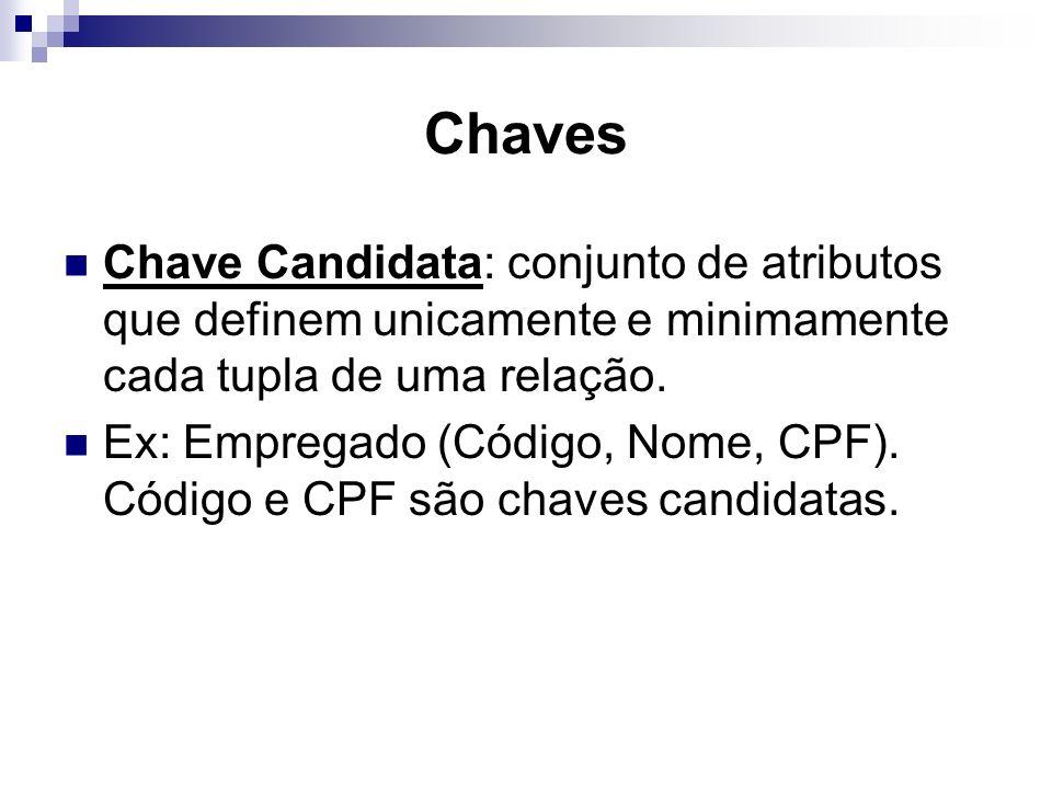 Chaves Chave Candidata: conjunto de atributos que definem unicamente e minimamente cada tupla de uma relação.